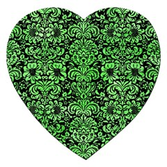 Damask2 Black Marble & Green Watercolor Jigsaw Puzzle (heart) by trendistuff