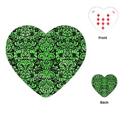 Damask2 Black Marble & Green Watercolor Playing Cards (heart)  by trendistuff