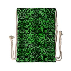Damask2 Black Marble & Green Watercolor (r) Drawstring Bag (small) by trendistuff