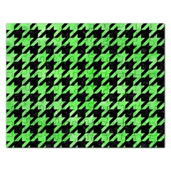 Houndstooth1 Black Marble & Green Watercolor Rectangular Jigsaw Puzzl by trendistuff