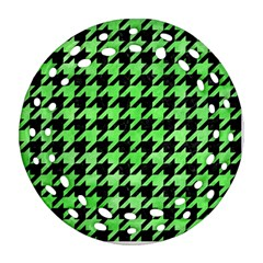 Houndstooth1 Black Marble & Green Watercolor Round Filigree Ornament (two Sides) by trendistuff