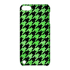 Houndstooth1 Black Marble & Green Watercolor Apple Ipod Touch 5 Hardshell Case With Stand by trendistuff