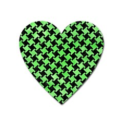 Houndstooth2 Black Marble & Green Watercolor Heart Magnet by trendistuff