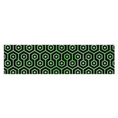 Hexagon1 Black Marble & Green Watercolor Satin Scarf (oblong) by trendistuff