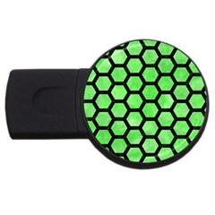 Hexagon2 Black Marble & Green Watercolor (r) Usb Flash Drive Round (4 Gb) by trendistuff