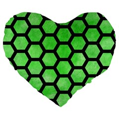 Hexagon2 Black Marble & Green Watercolor (r) Large 19  Premium Flano Heart Shape Cushions by trendistuff