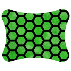 Hexagon2 Black Marble & Green Watercolor (r) Jigsaw Puzzle Photo Stand (bow) by trendistuff