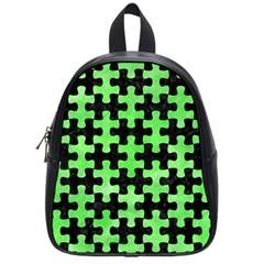Puzzle1 Black Marble & Green Watercolor School Bag (small) by trendistuff