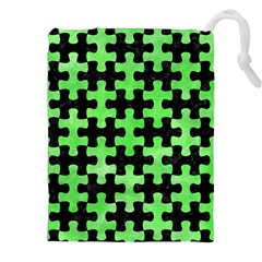 Puzzle1 Black Marble & Green Watercolor Drawstring Pouches (xxl) by trendistuff