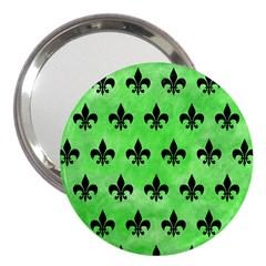 Royal1 Black Marble & Green Watercolor 3  Handbag Mirrors by trendistuff