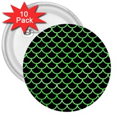 Scales1 Black Marble & Green Watercolor 3  Buttons (10 Pack)  by trendistuff