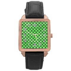 Scales1 Black Marble & Green Watercolor (r) Rose Gold Leather Watch  by trendistuff