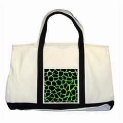 Skin1 Black Marble & Green Watercolor (r) Two Tone Tote Bag by trendistuff