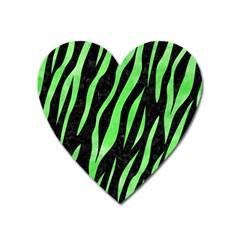 Skin3 Black Marble & Green Watercolor Heart Magnet by trendistuff