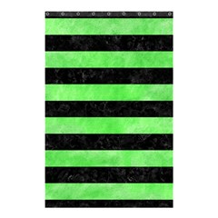Stripes2 Black Marble & Green Watercolor Shower Curtain 48  X 72  (small)  by trendistuff