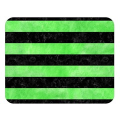 Stripes2 Black Marble & Green Watercolor Double Sided Flano Blanket (large)  by trendistuff