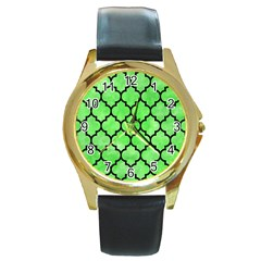 Tile1 Black Marble & Green Watercolor (r) Round Gold Metal Watch