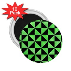 Triangle1 Black Marble & Green Watercolor 2 25  Magnets (10 Pack)  by trendistuff