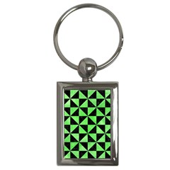 Triangle1 Black Marble & Green Watercolor Key Chains (rectangle)  by trendistuff