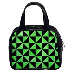 Triangle1 Black Marble & Green Watercolor Classic Handbags (2 Sides) by trendistuff