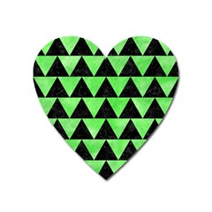 Triangle2 Black Marble & Green Watercolor Heart Magnet by trendistuff