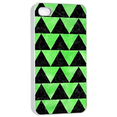 Triangle2 Black Marble & Green Watercolor Apple Iphone 4/4s Seamless Case (white) by trendistuff