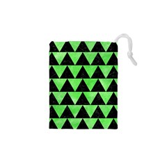Triangle2 Black Marble & Green Watercolor Drawstring Pouches (xs)  by trendistuff