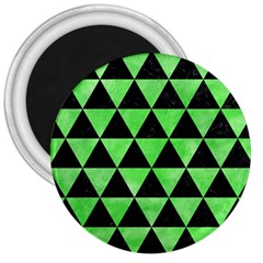 Triangle3 Black Marble & Green Watercolor 3  Magnets by trendistuff