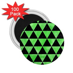 Triangle3 Black Marble & Green Watercolor 2 25  Magnets (100 Pack)  by trendistuff