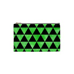 Triangle3 Black Marble & Green Watercolor Cosmetic Bag (small)  by trendistuff