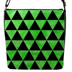 Triangle3 Black Marble & Green Watercolor Flap Messenger Bag (s) by trendistuff