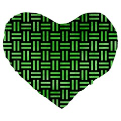 Woven1 Black Marble & Green Watercolor Large 19  Premium Flano Heart Shape Cushions by trendistuff