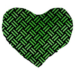 Woven2 Black Marble & Green Watercolor Large 19  Premium Flano Heart Shape Cushions by trendistuff