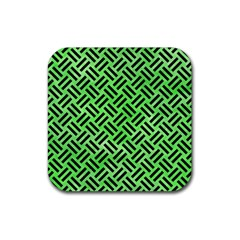 Woven2 Black Marble & Green Watercolor (r) Rubber Square Coaster (4 Pack)  by trendistuff