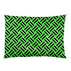 Woven2 Black Marble & Green Watercolor (r) Pillow Case by trendistuff