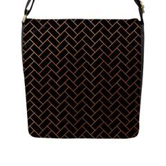 Brick2 Black Marble & Light Maple Wood Flap Messenger Bag (l)  by trendistuff