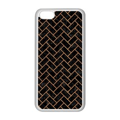 Brick2 Black Marble & Light Maple Wood Apple Iphone 5c Seamless Case (white) by trendistuff