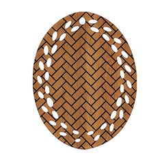 Brick2 Black Marble & Light Maple Wood (r) Oval Filigree Ornament (two Sides) by trendistuff