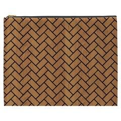 Brick2 Black Marble & Light Maple Wood (r) Cosmetic Bag (xxxl)  by trendistuff