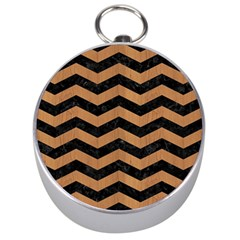 Chevron3 Black Marble & Light Maple Wood Silver Compasses by trendistuff