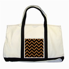 Chevron9 Black Marble & Light Maple Wood Two Tone Tote Bag by trendistuff