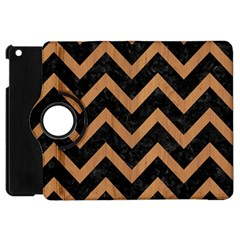 Chevron9 Black Marble & Light Maple Wood Apple Ipad Mini Flip 360 Case by trendistuff