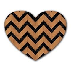 Chevron9 Black Marble & Light Maple Wood (r) Heart Mousepads by trendistuff