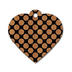 Circles2 Black Marble & Light Maple Wood Dog Tag Heart (two Sides) by trendistuff