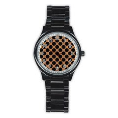Circles2 Black Marble & Light Maple Wood (r) Stainless Steel Round Watch by trendistuff