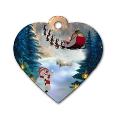 Christmas, Snowman With Santa Claus And Reindeer Dog Tag Heart (one Side) by FantasyWorld7