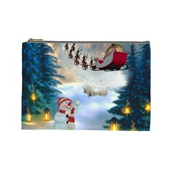 Christmas, Snowman With Santa Claus And Reindeer Cosmetic Bag (large)  by FantasyWorld7