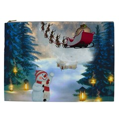 Christmas, Snowman With Santa Claus And Reindeer Cosmetic Bag (xxl)  by FantasyWorld7