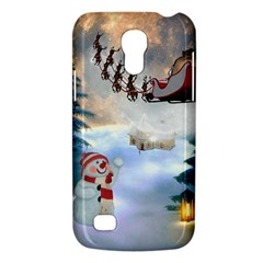 Christmas, Snowman With Santa Claus And Reindeer Galaxy S4 Mini by FantasyWorld7
