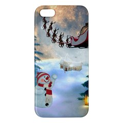 Christmas, Snowman With Santa Claus And Reindeer Iphone 5s/ Se Premium Hardshell Case by FantasyWorld7
